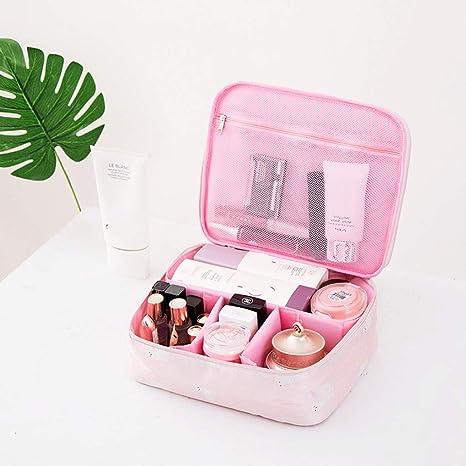 Estuche de cosméticos de Gama Alta de Color Rosa Bolso de cosméticos de Gran Capacidad Caja de Almacenamiento de cosméticos con Cierre de Cuero de PU, Damas: Amazon.es: Deportes y aire libre