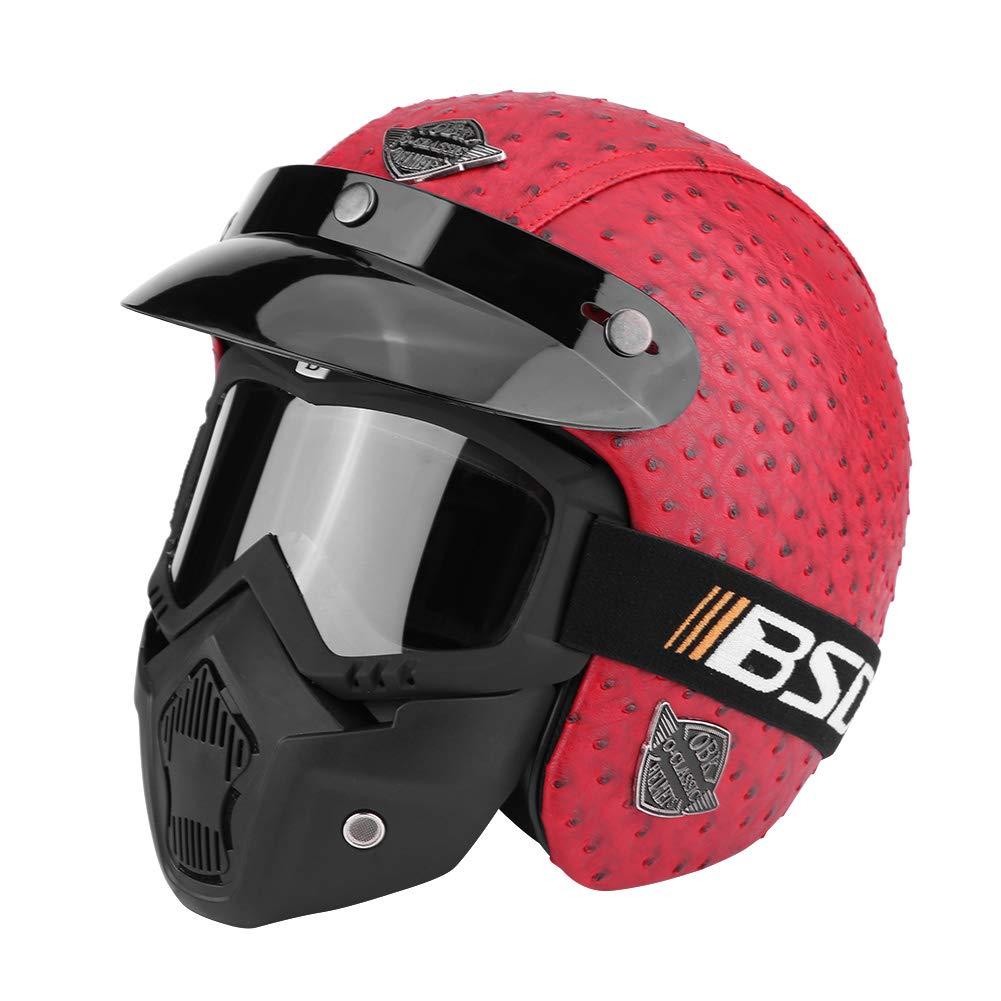 circunferencia de la cabeza 57-58 cm casco abierto con gafas desmontables y m/áscara para las cuatro estaciones L 59-60 cm Zerone Casco medio para motocicleta opcional M 61-62 cm XL