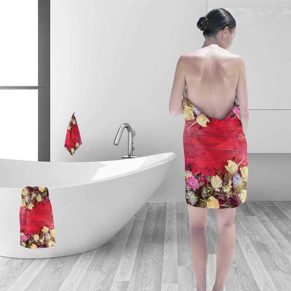 Printsonne Quick-Dry Bath Towel Wooden Rustic Wall View Kinds of Dried Flowers Lovers Relaxation Red Yellow Fuchsia Ideal for Everyday use