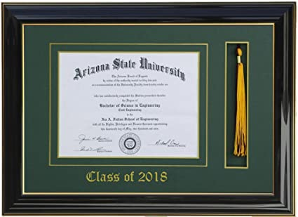 Amazon.com - Diploma Tassel frame 14x11 Black/Green 2018 ...