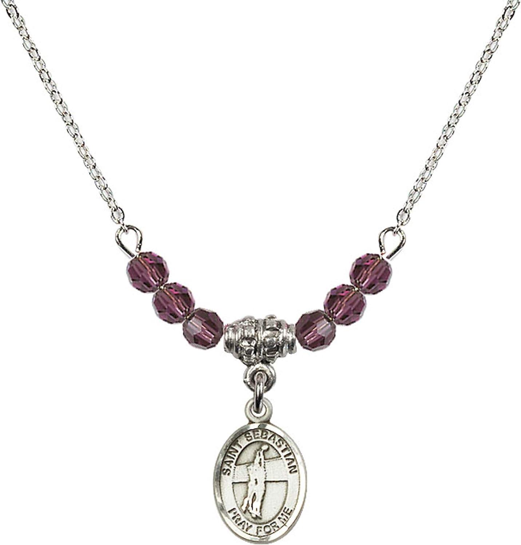 Bonyak Jewelry 18 Inch Rhodium Plated Necklace w// 4mm Purple February Birth Month Stone Beads and Saint Sebastian//Volleyball Charm
