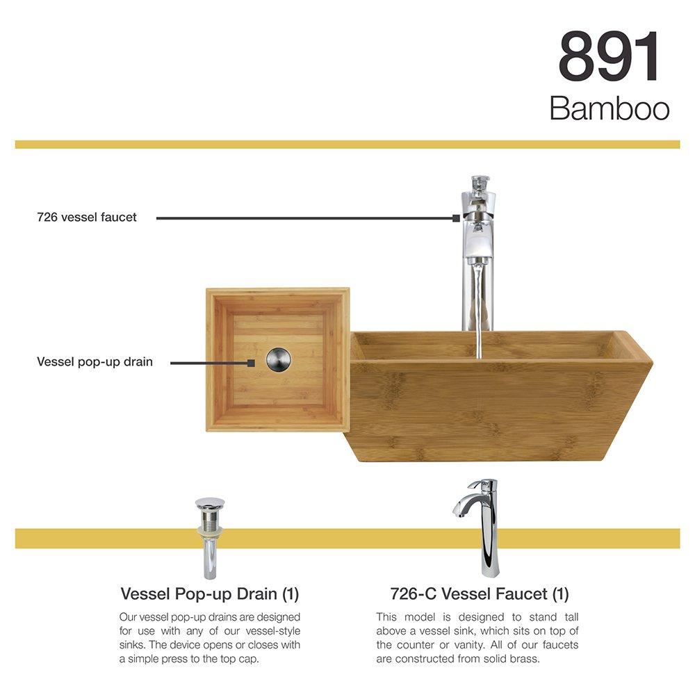 891 Bamboo Vessel Sink Chrome Bathroom Ensemble with 726 Vessel ...