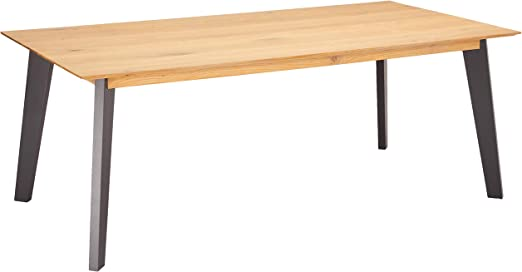 Ibbe Design Sentosa Rectangular Extendable Dining Table 180 X 90 Cm Natural Oiled Solid Oak Grey Lacquered Wood Dining Room Table 108 X 90 X 75 Cm Amazon De Kuche Haushalt