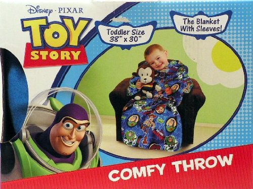 Disney Pixar Toy Story Comfy Throw Blanket with Sleeves ~ Toddler Size ~ Buzz Lightyear, Woody & Squeeze Toy Aliens by Classy Joint
