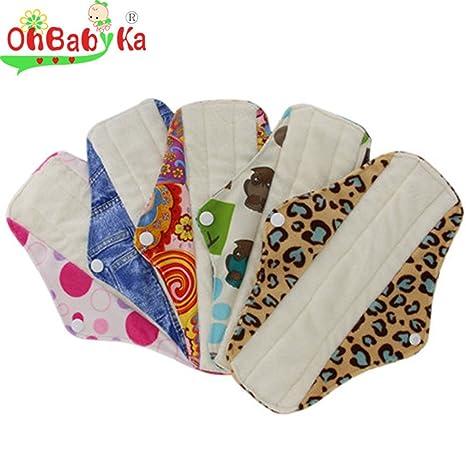 Compresas sanitarias de bambú, reutilizables, para mujeres, y estuche para toallitas húmedas;