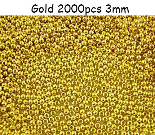 Smooth Polished Finish Metal Spacer Round Beads Tiny Ball Beads for (Gold 2000pcs (Smooth Round Beads)