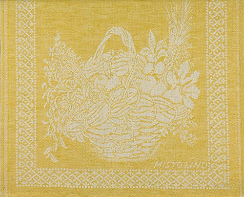 Tessitura Pardi Cesto (Basket) Yellow Misto Linen Italian Kitchen Towel ()