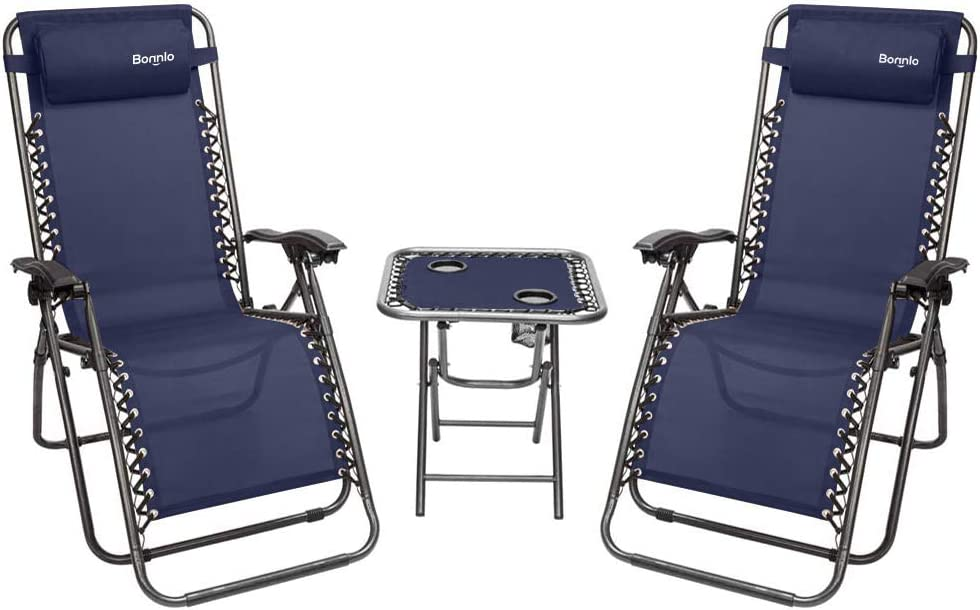 Bonnlo 3 PCS Zero Gravity Chair Patio Chaise Lounge Chairs Outdoor Yard Pool Recliner Folding Lounge Table Chair Set (Blue)