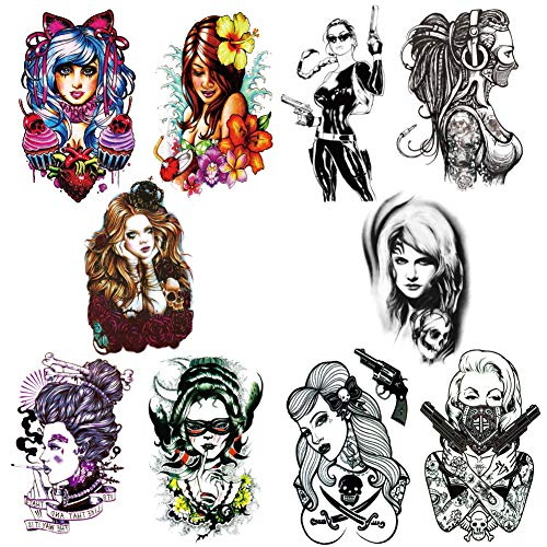 Halloween Lady Pirate Makeup (Large Black Skull Temporary Tattoos Pistols Pirate Flower Women Tattoo Stickers 10 Sheets Halloween Makeup Stickers for Girls Arm Leg Chest)