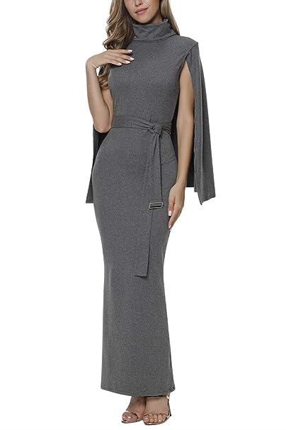 9a6c95f911c Meenew Women s Cape Split Sheath Slim Fit Cape Long Evening Dress Grey XL