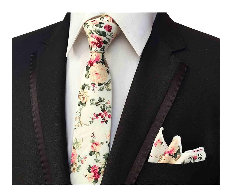 L04BABY Mens Floral Tie Handkerchief Flower Cotton Necktie and Pocket Square Set A2017032939