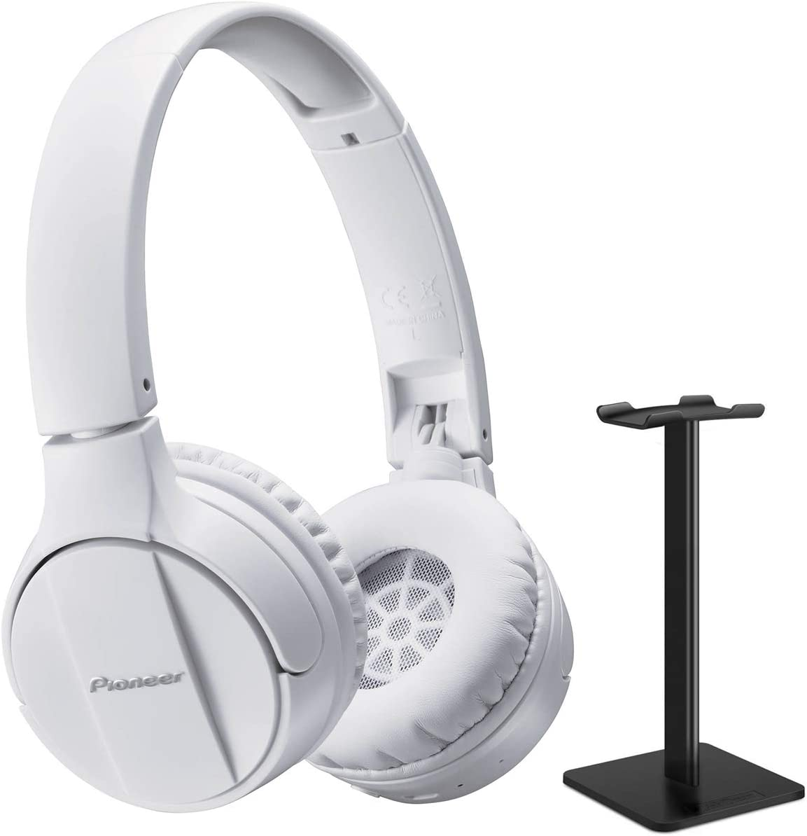 Pioneer SE-MJ553BT-K On-Ear Bluetooth Stereo Headphone Bundle with Headphone Stand - White