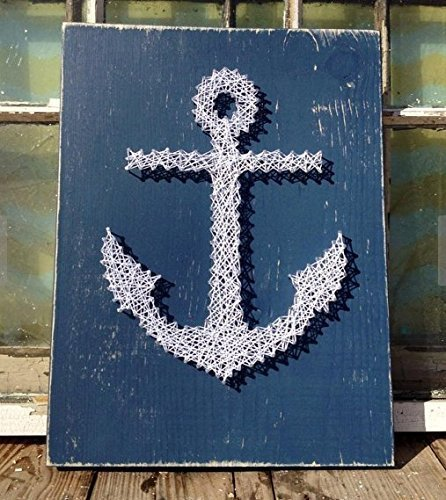 Amazon Navy Anchor String Art 12x15 Blue Distressed Stained