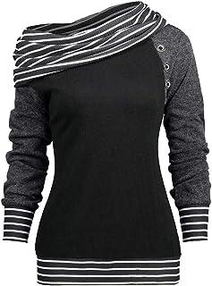 Fashion Trend da Donna A Maniche Lunghe A Righe Patchwork Colletto Sciarpa Collo Felpa Casual Top Indumento Esterno Superiore S-3XL