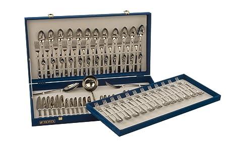 Monix Oslo - Set 87 piezas cubiertos de acero inox 18/10, estuche y