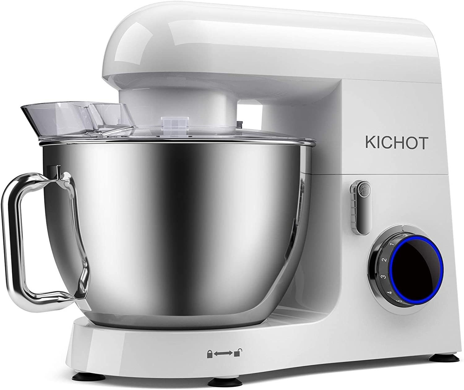 KICHOT Stand Mixer, 8.5QT 800W Powerful Metal Housing Electric Tilt Head Food Mixer, Kitchen Mixer with Dough Hook, Flat Beater, Wire Whisk and Splash Guard (White)