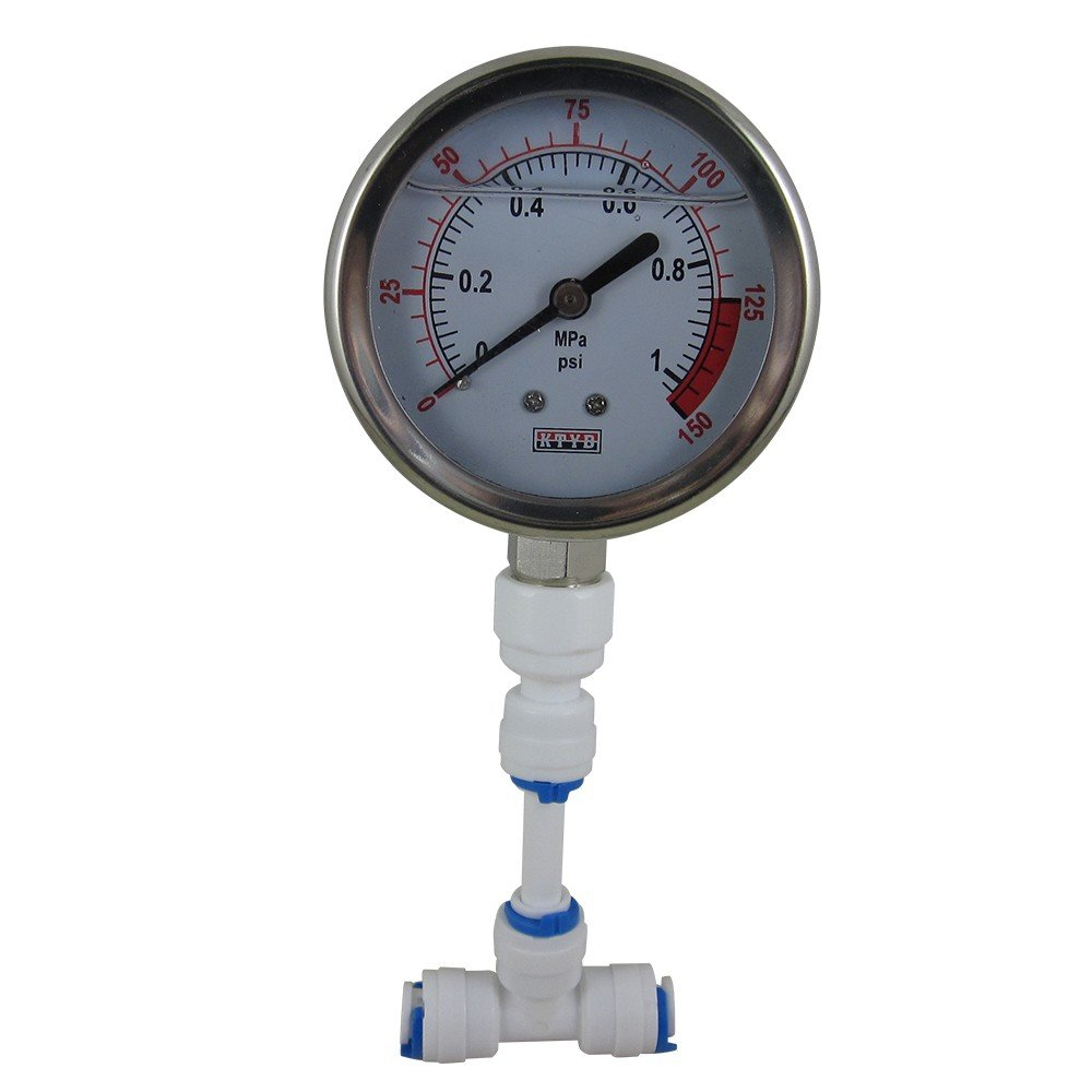 DIGITEN Water Pressure Gauge Meter 0-1.0MPa 0-150psi 1/4'' for Reverse Osmosis System Pump