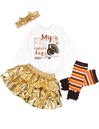 a81713762815c Baby Thanksgiving Outfit Newborn Boy Girl Letter Print Romper Turkey Print  Pant with Tutu Dress Sets