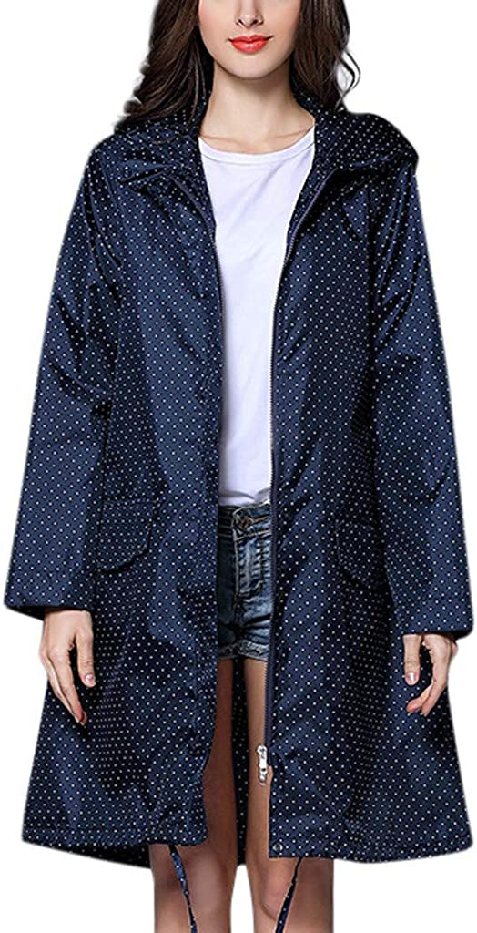 HKDGID Womens Fashion Outdoor Rain Jacket Polka Dot Hoodie Zip up Waterproof Rain Coat