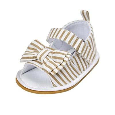 Baorong Infant Girls Stripe Bow Peep Toe Rubber Sole Summer Baby Sandals