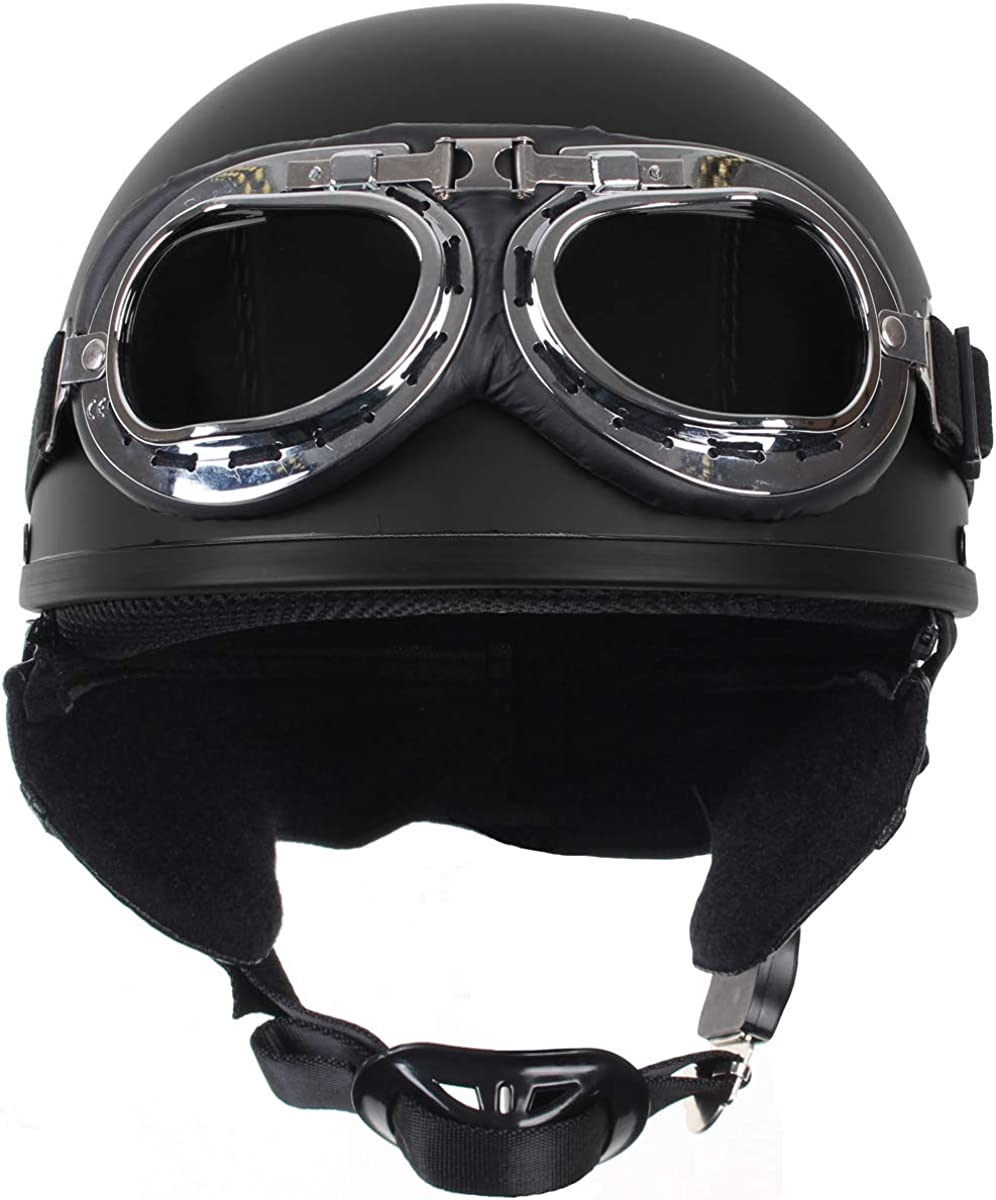 Retro Vintage Style Open Motorbike Helmet with goggles