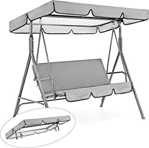Patio Swing Canopy Replacement Top Cover, Premium Waterproof Porch Swing Cover with Canopy, Outdoor Garden Swing Top Dustproof Cover for Courtyard Sun Shade, Top Cover Only (Gray)