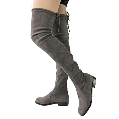934c9903dcf3 Image Unavailable. Image not available for. Color  87 shoes Thigh High Flat  Boots Women Over The Knee Boots Comfort Fall Winter Faux Boots