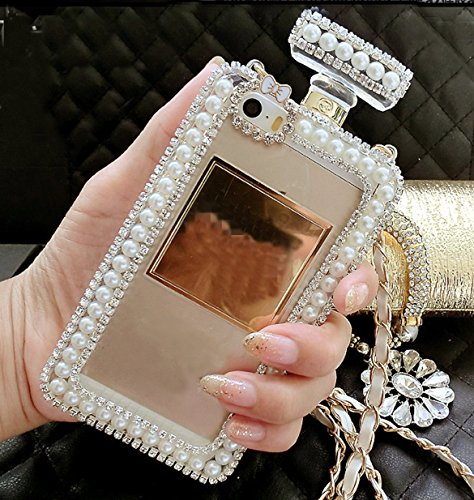 Diamond Perfume Bottle - Sasa(TM)iPhone 6/6S Case,Diamond Crystal Cute Pearl Perfume Bottle Shaped Chain Handbag Case Cover for iPhone 6/6S (4.7inch)