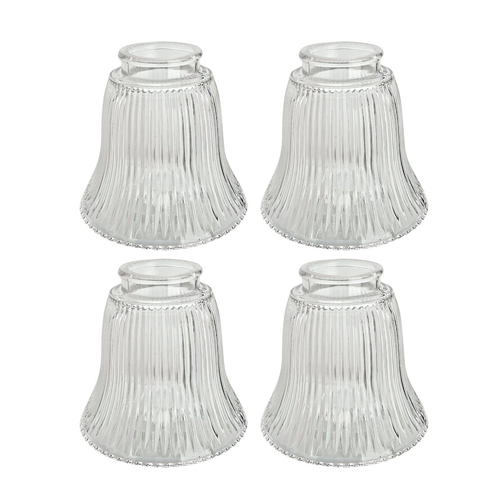 Aspen Creative 23010-4 2-1/8'' Fitter Size 4-1/2'' high x 4-3/4'' Diameter Transitional Style Replacement Bell Shaped Ribbed Glass Shade (4 Pack)