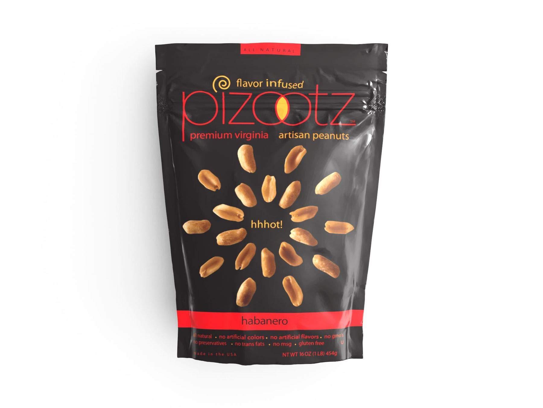 PIZOOTZ Habanero Flavor Infused Peanuts, Premium Virginia Gourmet, 5.75 Ounce