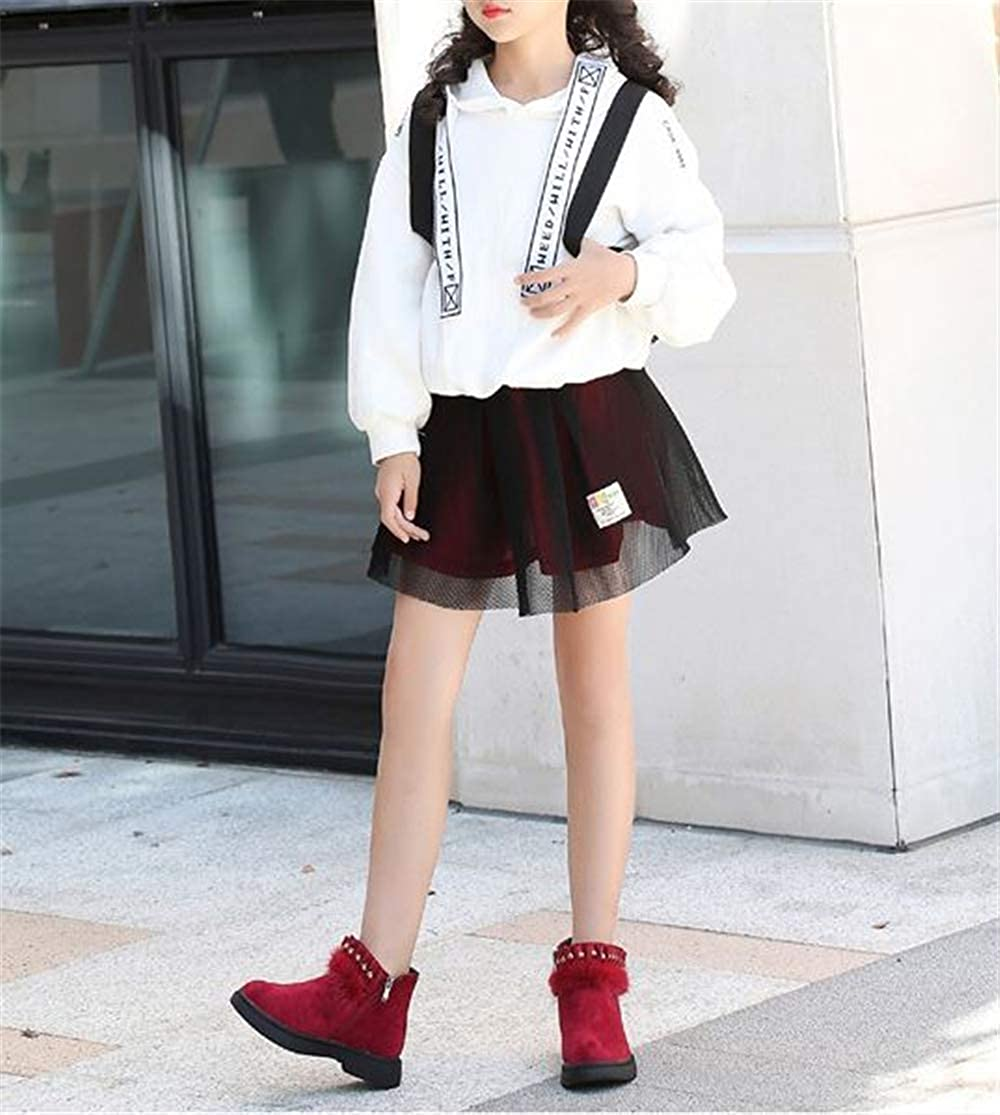 Toddler//Little//Big Kid Rose town Girls Warm Winter Flat Shoes Zip Snow Princess Boots