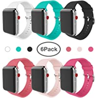 6-Pack Miterv Apple Watch 38mm Soft Silicone Replacement Band
