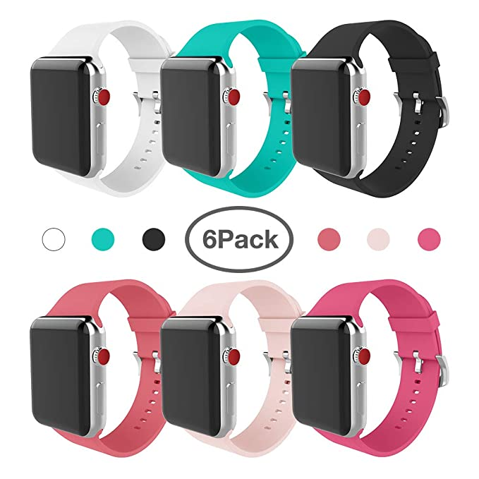 e9216dc9fd2b88 Image Unavailable. Image not available for. Color: for Apple Watch Band 38mm  Soft Silicone Replacement Band for Apple Watch Series 3 Series 2