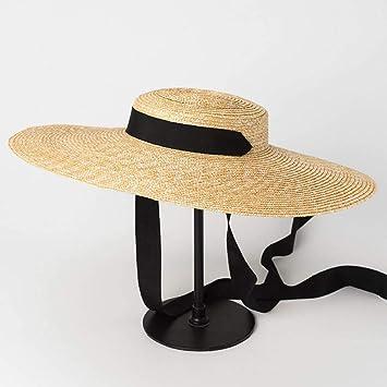 1f991598a HATSMT Wide Brim Boater Hat 10Cm 15Cm Brim Straw Hat Flat Women ...