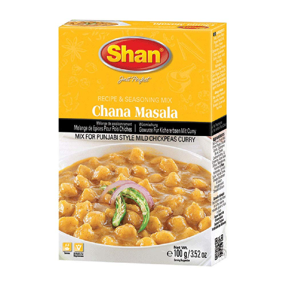 Shan Chana Masala Recipe and Seasoning Mix 3.52 oz (100g) - Spice Powder for Punjabi Style Mild Chickpeas Curry - Suitable for Vegetarians - Airtight Bag in a Box