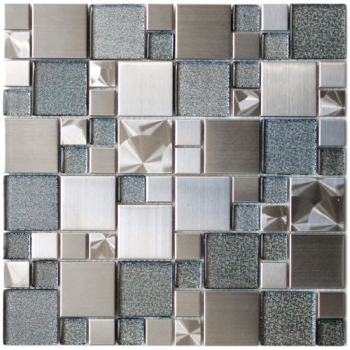 Modern Cobble Stainless Steel With Silver Glass Metal Tile - Kitchen Backsplash/Bathroom Wall/Home Decor/Fireplace Surround