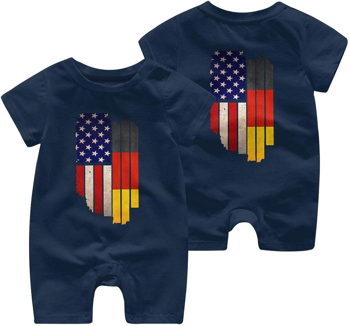 Newborn Baby Bodysuits Vintage USA Germany Flag Toddler Jumpsuit