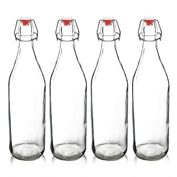 yeboda claro botellas de vidrio con tapón para fermentar cerveza (cerveza Kombucha kéfir y sello