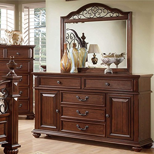 Furniture of America Barath 2-piece Antique Dark Oak Dresser and Mirror Set (Dark Oak Mirror)