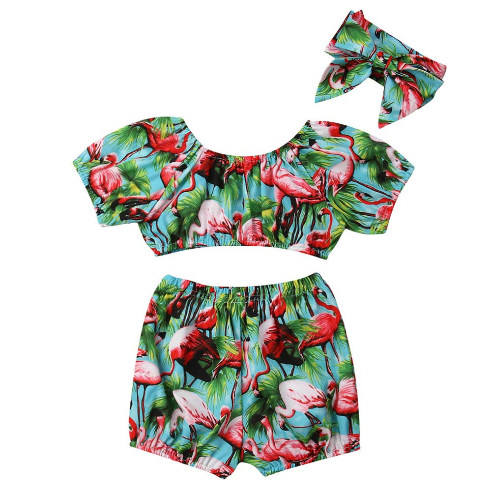 Toddler Girl Summer Two-Pieces Outfits Flamingo Off Shoulder Crop Top and Shorts Pants Headband Casual Swimsuit Clothes