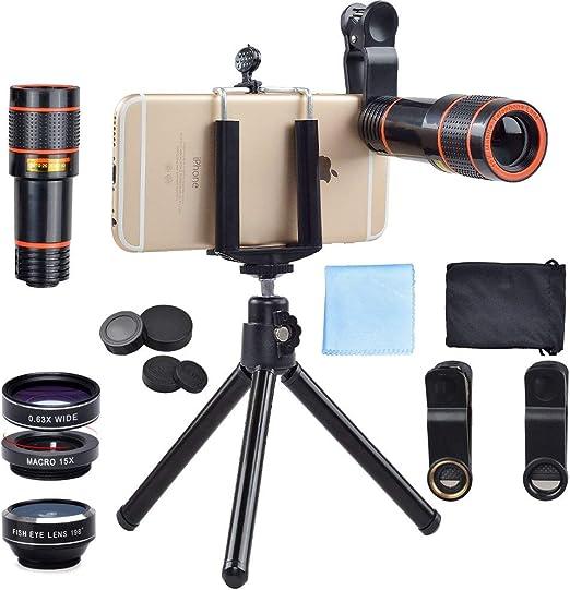 Lentes para móviles APEXEL 4-en-1 Clip-On lente Kit, 12X lente del ...