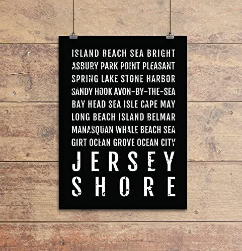Jersey Shore Print, New Jersey Shore Subway Sign Poster, NJ Wall Art, Décor, Canvas, Gift, Bus Scroll, Minimal, Custom, Personalized