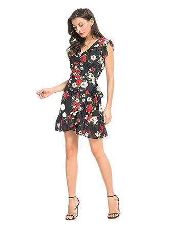 74ebff155657 Joeoy Women's Black Floral Print Ruffle Cold Shoulder V Neck Wrap Dress-M
