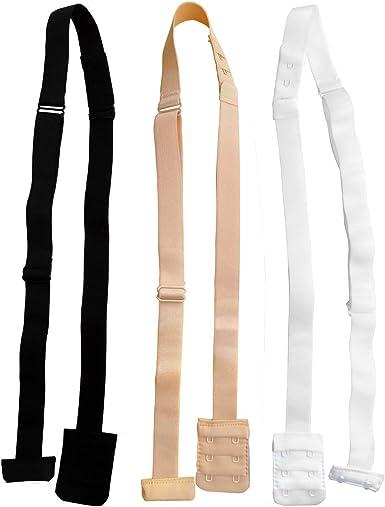 3pcs Beige//White//Black Low Back Backless Bra Strap Converter Adjustable Extender