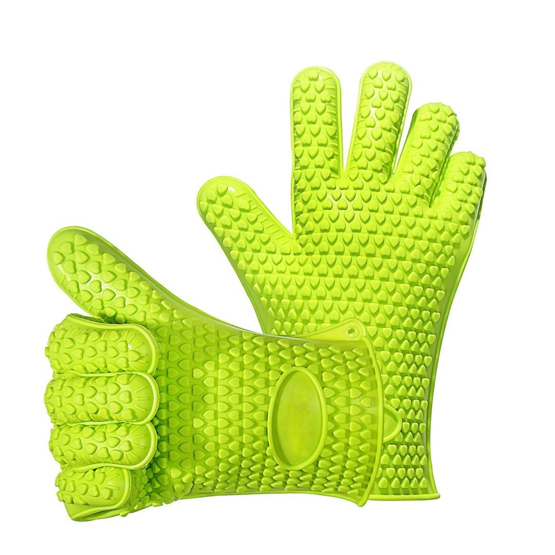 Silicone BBQ Heat Resistant Grill for Cooking Kitchen Baking Pot Holder Boiling Oven Gloves, Green
