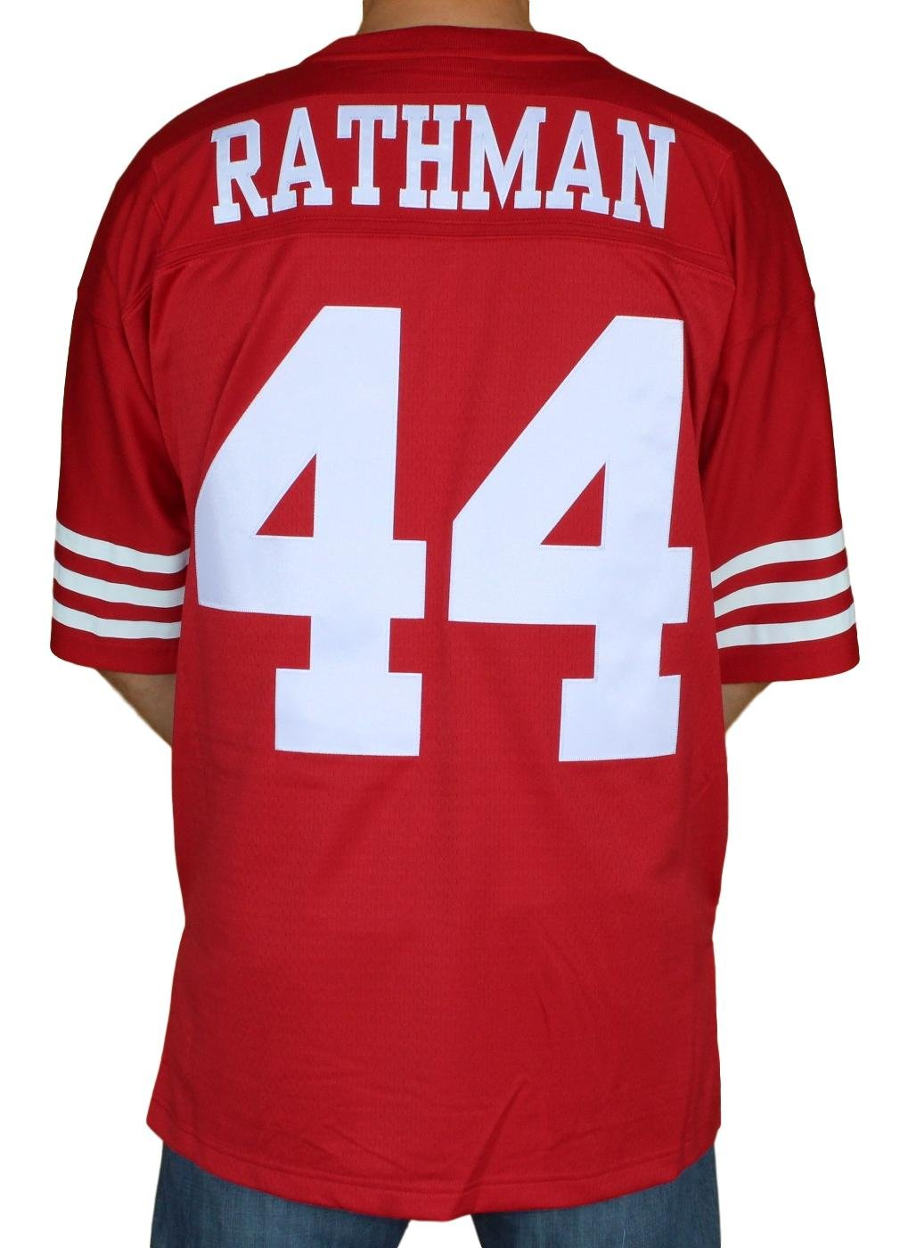 b7151914ff1 Amazon.com   Mitchell   Ness Tom Rathman San Francisco 49ers Throwback  Premier Red Jersey   Sports   Outdoors