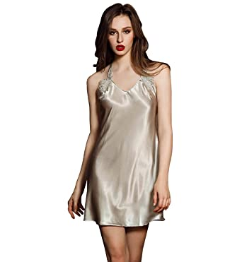Surenow Women s Polyester Satin Silk Nightgown Glossy Sling Nightdress Lace  Trim Halter Neck Back Y Cross 3ca7d45f1