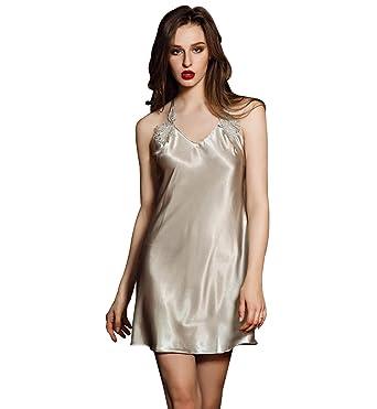 Surenow Women s Polyester Satin Silk Nightgown Glossy Sling Nightdress Lace  Trim Halter Neck Back Y Cross be974cbb0