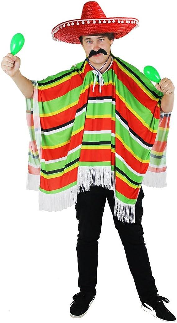 Disfraz Mexicano Bandit – para hombre – Poncho & Sombrero: Amazon ...