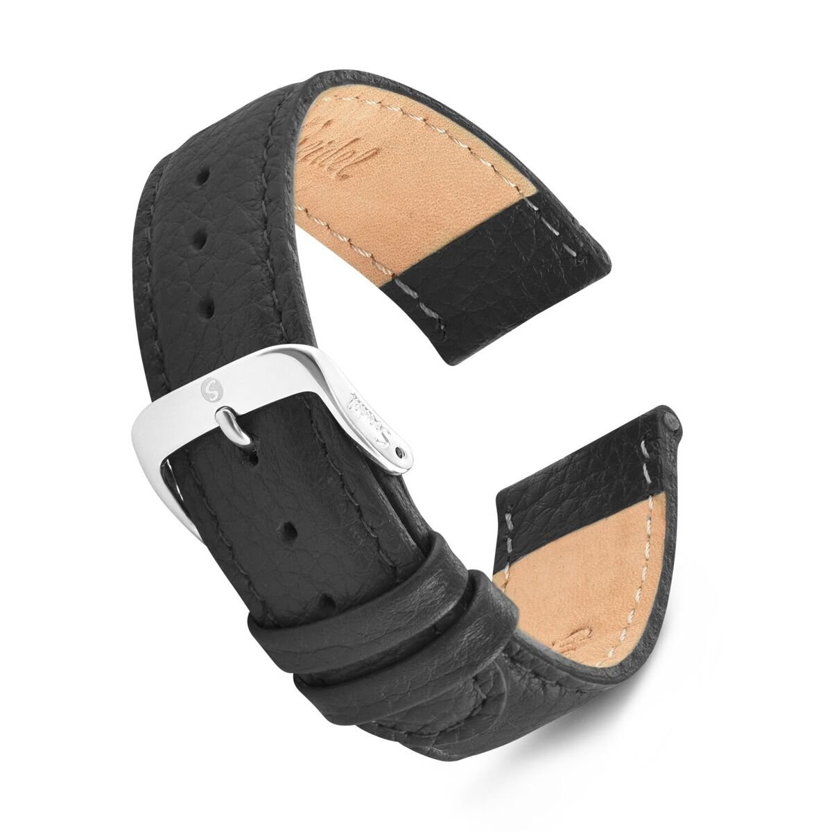 Speidel Genuine Leather Watch Band 19mm Black Calf Skin Replacement Strap with Tone on Tone Stitching, Stainless Steel Metal Buckle Clasp, Watchband Fits Most Watch Brands